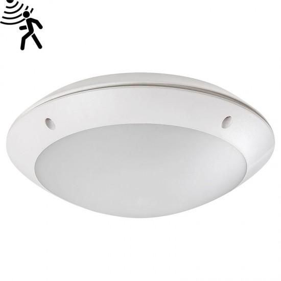 Plafoniera exterior Lentil Led, alb, senzor prezenta, LED, 12W, 720 lumeni, alb neutru 4000K, D.26 cm, 8555