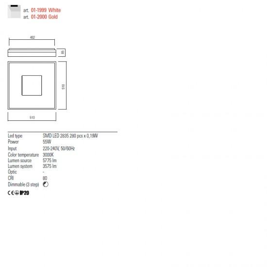 Plafoniera Redo Maya, auriu mat, LED, 55W, 3575 lumeni, alb cald 3000K, 51 cm, 01-2000