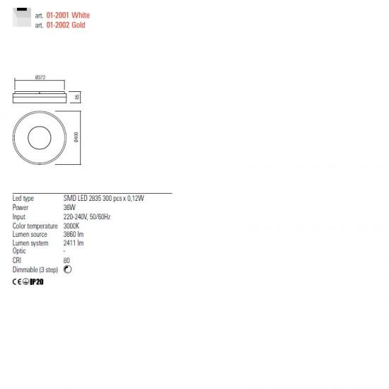 Plafoniera Redo Maya, alb mat, LED, 36W, 2411 lumeni, alb cald 3000K, 40 cm, 01-2001