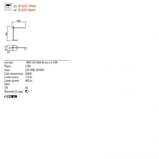 Veioza Redo Omeo, negru mat, LED, 7.5W, 465 lumeni, 3000K-4500K-6500K, 01-2213