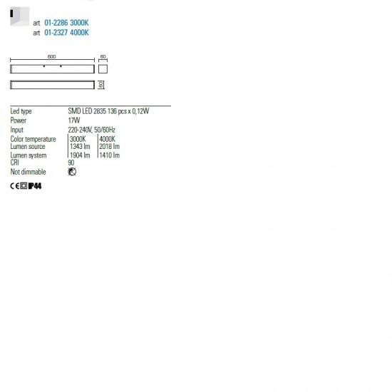 Aplica Redo Thela, crom, LED, 17W, 1343 lumeni, IP44, 60 cm