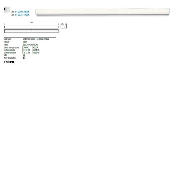Aplica Redo Task, crom, LED, 24W, 1872 lumeni, IP44, 120 cm