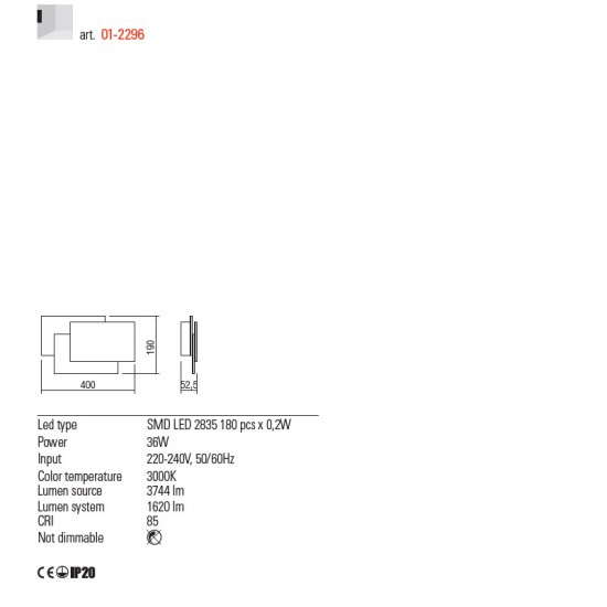 Aplica Redo Gamer, alb mat, LED, 36W, 1620 lumeni, alb cald 3000K, 40 cm, 01-2296