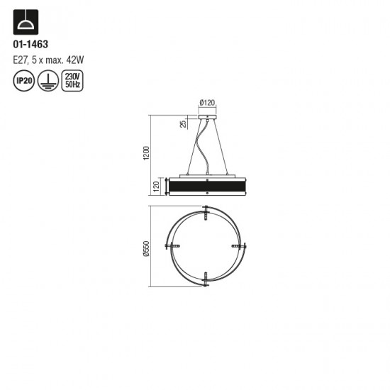 Suspensie Redo Zelda, sticla, 5XE27, 55 cm, 01-1463