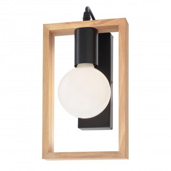 Aplica Redo Timber, negru mat, lemn fag, 1XE27, 01-1663