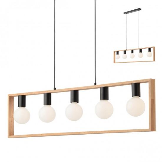 Lustra Redo Timber, negru mat, lemn fag, 5XE27, 01-1666