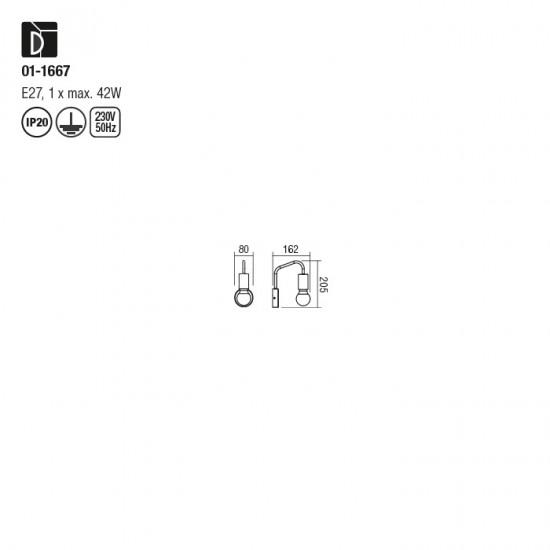 Aplica Redo Yak, negru mat, 1XE27, 01-1667