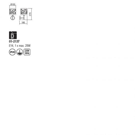 Aplica Redo Melia, crom, textil, 1XE14, 01-2137