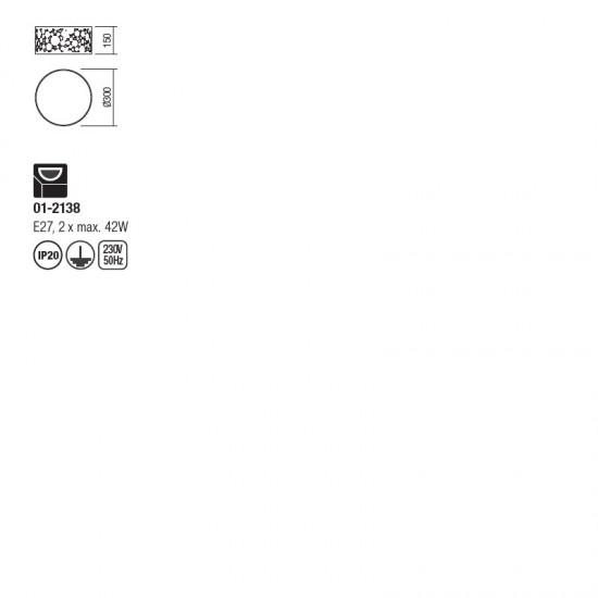 Plafoniera Redo Melia, crom, textil, 2XE27, 30 cm, 01-2138