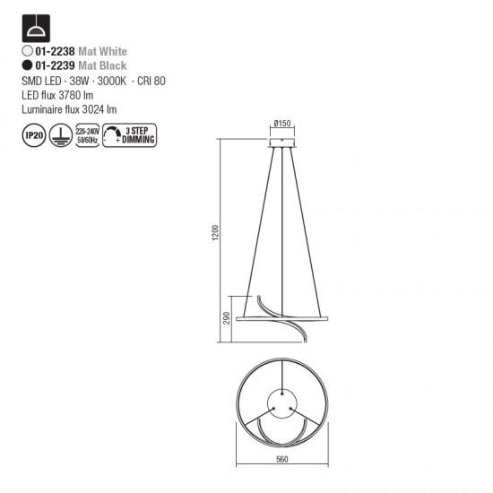 Suspensie Redo Giro, alb mat, LED, 38W, 3024 lumeni, alb cald 3000K, 56 cm, 01-2238