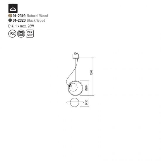 Suspensie Redo Kleidi, negru mat, lemn negru, sticla, 1XE14, 01-2320