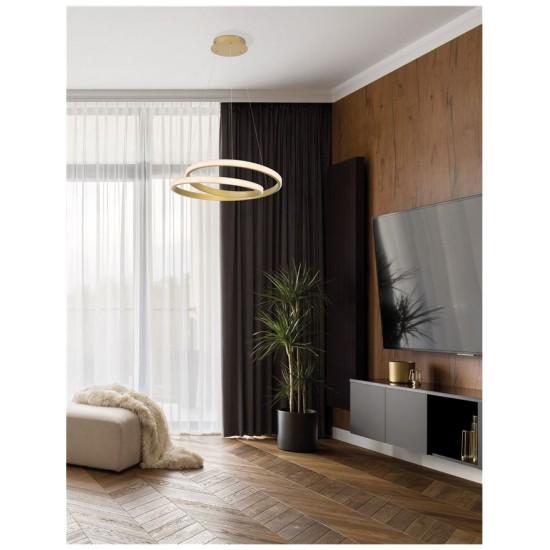 Suspensie Nova Luce Grania, auriu mat, LED, dimabil, 25W, 1900 lumeni, alb cald 3000K, D.55 cm, 9818581