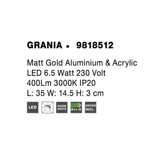 Aplica Nova Luce Grania, auriu mat, LED, 6.5W, 400 lumeni, alb cald 3000K, 9818512