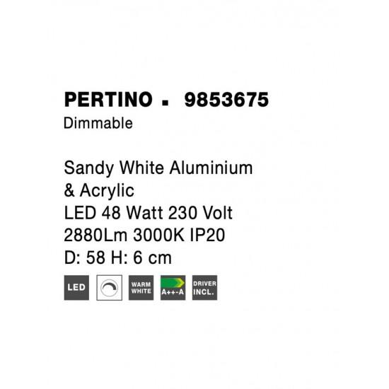 Plafoniera Nova Luce Pertino, alb, LED, 48W, 2880 lumeni, alb cald 3000K, D.58 cm, 9853675