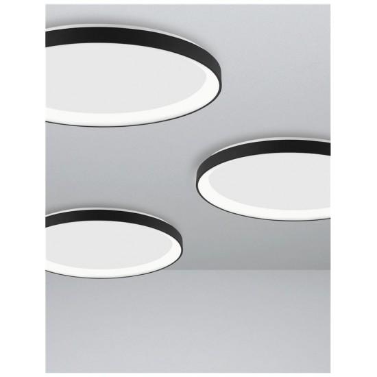 Plafoniera Nova Luce Pertino, negru, LED, 48W, 2880 lumeni, alb cald 3000K, D.58 cm, 9853676