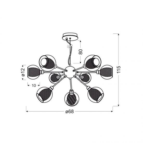 Lustra Candellux Dixi, crom, sticla, 9XE14, 39-65018