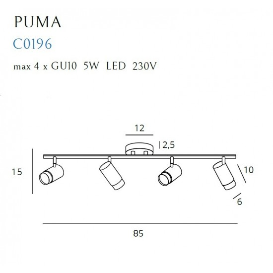 Plafoniera Maxlight Puma, negru mat, 4XGU10, C0196