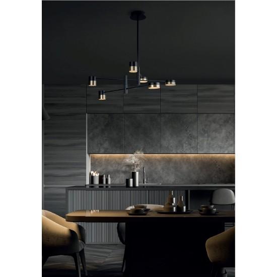 Lustra Maxlight Puma, negru mat, LED, 42W, 2520 lumeni, alb cald 3000K, P0405