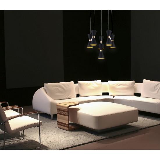 Lustra Maxlight Cornet, negru mat, LED, 30W, 1800 lumeni, alb cald 3000K, P0331