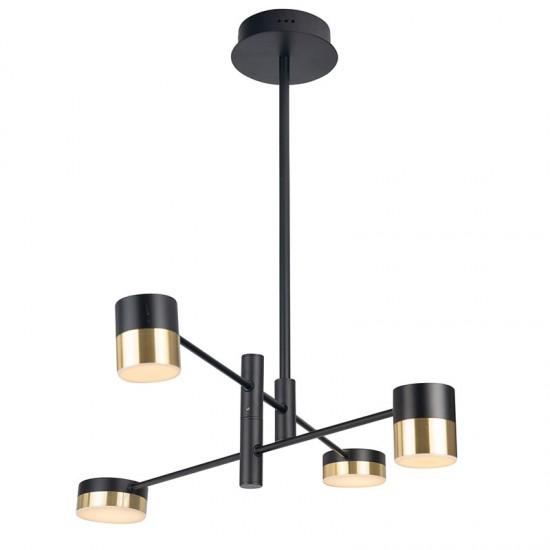 Lustra Maxlight Puma, negru mat, LED, 28W, 1680 lumeni, alb cald 3000K, P0404