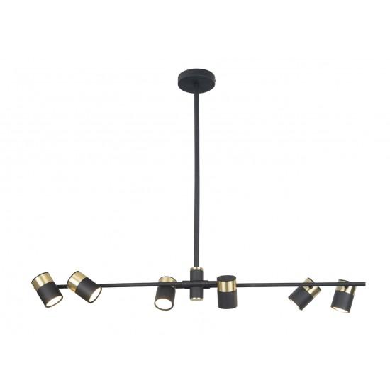 Lustra Maxlight Puma, negru mat, 6XGU10, 95 cm, P0409