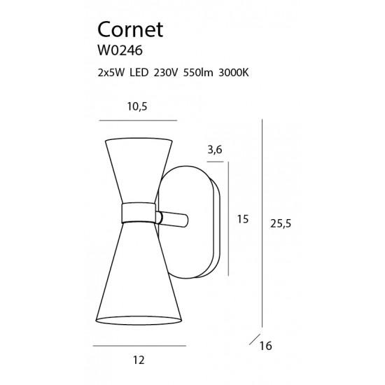 Aplica Maxlight Cornet, negru mat, LED, 10W, 550 lumeni, alb cald 3000K, W0246
