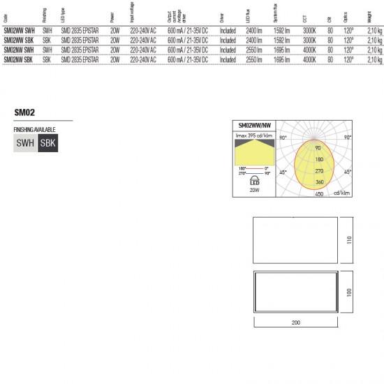 Plafoniera Arelux XSmooth, negru, LED, 20W, SM02 SBK