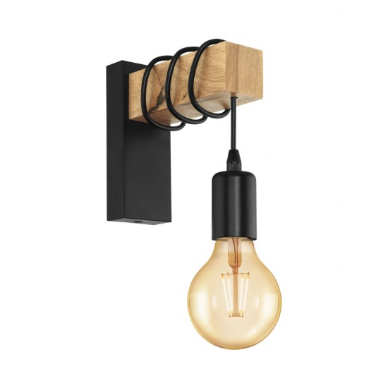 Aplica Eglo Townshend, negru, lemn, 1XE-27