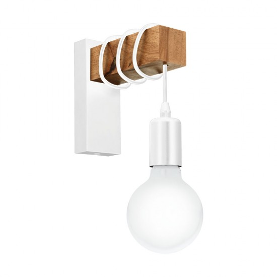 Aplica Eglo Townshend, alb, lemn, 1XE27, 33162