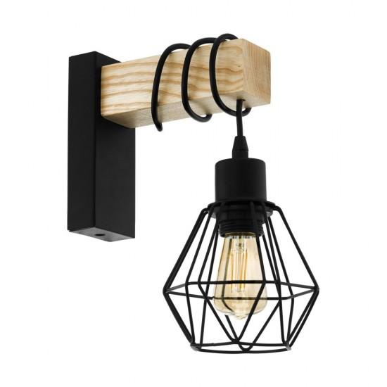 Aplica Eglo Townshend 5, negru, lemn, 1XE27, 43135