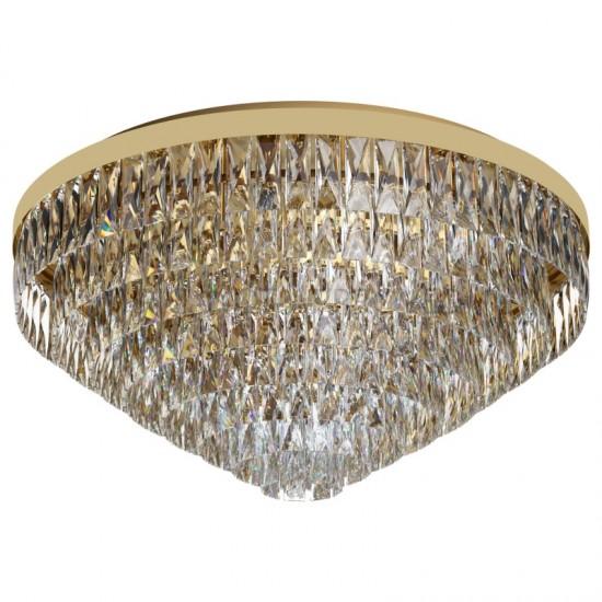 Plafoniera Eglo Valparaiso, auriu, cristal, 16XE14, 78 cm, 39459