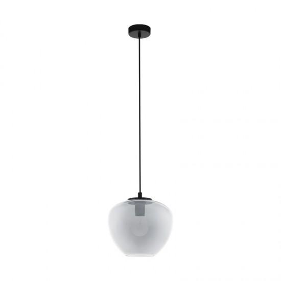 Suspensie Eglo Priorat, negru, sticla fumurie, 1XE27, 29 cm, 39657