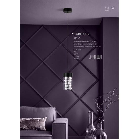 Suspensie Eglo Cabezola, negru, LED, dimabil, 5.3W, 580 lumeni, alb cald 3000K, 12 cm, 39736