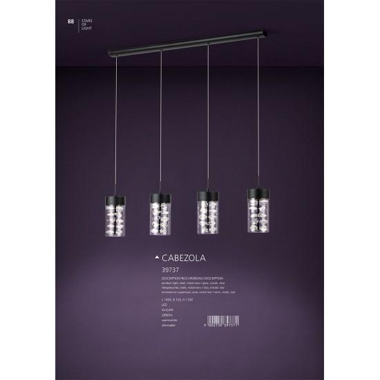 Lustra Eglo Cabezola, negru, LED, dimabil, 26W, 2880 lumeni, alb cald 3000K, 39737