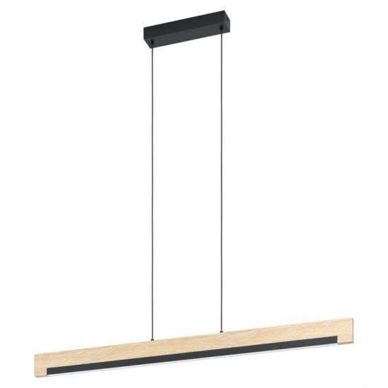 Suspensie Eglo Camacho, negru, lemn, LED, 25.5W, 3100 lumeni, alb cald 3000K, 99293