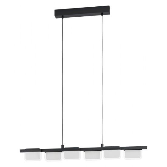 Suspensie Eglo Ervidel, negru mat, LED, 27W, 2880 lumeni, alb cald 3000K, L.93 cm, 98876