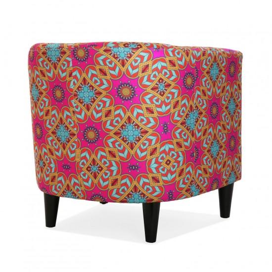 Fotoliu, picioare lemn, material textil multicolor, Aubrey