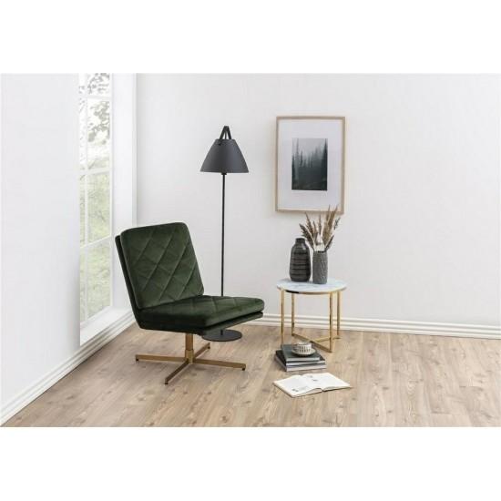 Fotoliu Actona Carrera, catifea verde inchis, baza metal auriu