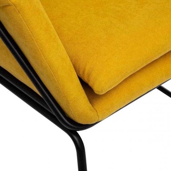 Fotoliu poliester galben Chet, structura si picioare din metal negru, 156963B