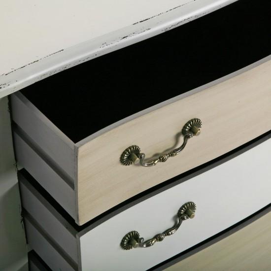 Comoda alba din lemn cu 3 sertare din MDF cafeniu si alb, Abigail