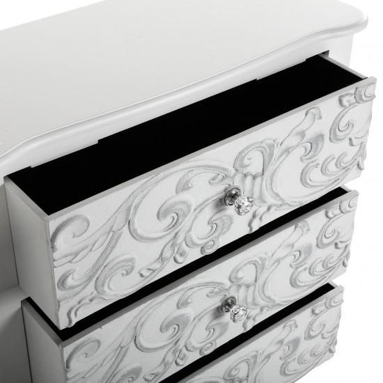 Comoda alba din lemn cu 3 sertare, Isabella