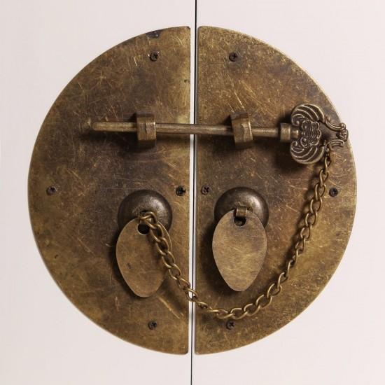 Noptiera alba din lemn si metal, 3 compartimente, Lana, 64532