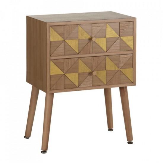 Noptiera din lemn si MDF, model geometric, 2 sertare, Aida, 600318