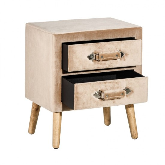 Noptiera bej tapitata, lemn si MDF, 2 sertare, Almas, 152487