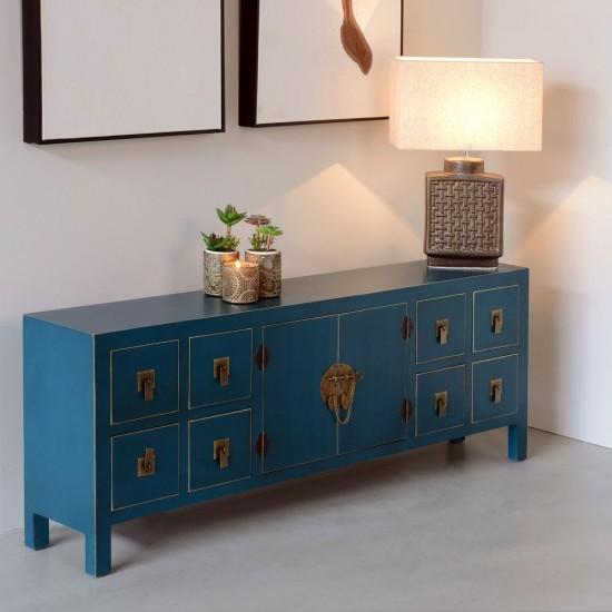 Comoda pentru TV albastra cu detalii aurii, 9 compartimente, Azul, 90958