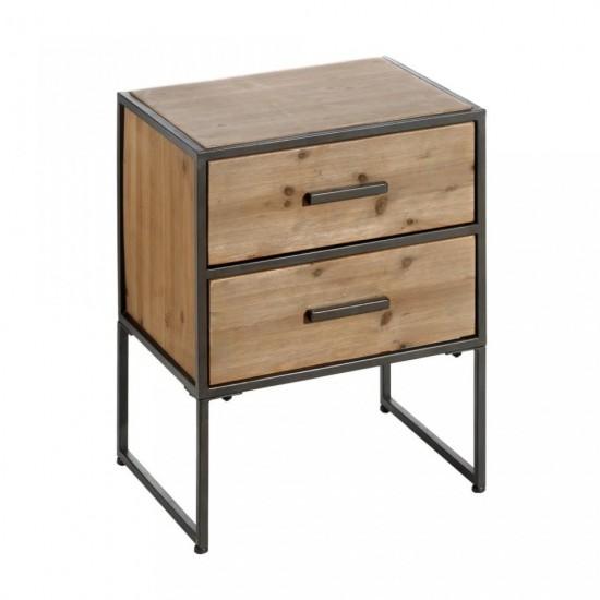 Noptiera din lemn si metal, 2 sertare, Belen, 121706
