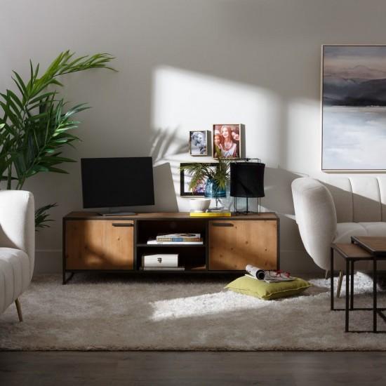 Comoda pentru TV din lemn si metal, 4 compartimente, Belen, 121715