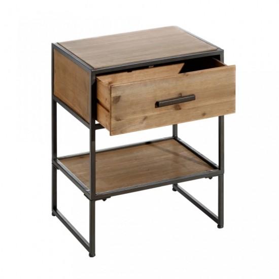 Noptiera din lemn si metal, cu sertar si polita, Belen, 121705