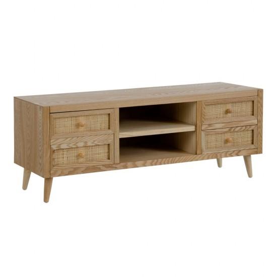 Comoda pentru TV din lemn natur si MDF, 6 compartimente, Carina, 602677