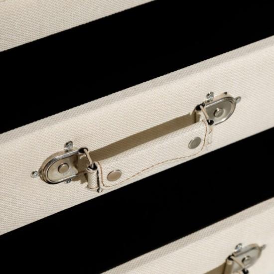 Noptiera crem tapitata, picioare lemn, 2 sertare, Carisa, 151224